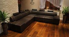 Echtleder Ecksofa Echt Leder Sofa Couch mit Kopfstützen Bettfunktion Stauraum