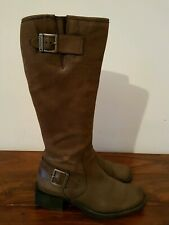 TIMBERLAND Distressed Brown Leather Zp Up Tall Boots Size UK 3.5 US 5.5