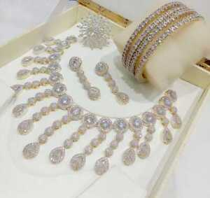 Dress Indian Style Stone AD White Stone Necklace Gold Plated Ring 4pc Love Party