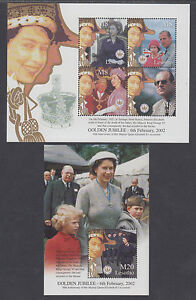 Lesotho Sc 1308-1309 MNH. 2002 QEII 50th Anniversary of her Reign, cplt set