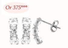 Boucles d'Oreilles Trio Diamant Cz de 4 mm en Or Gris Massif 9K de Dolly-Bijoux