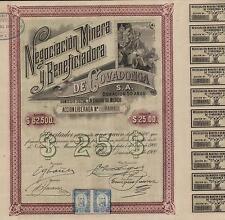 MEXICO COVADONGA MINING COMPANY BOND stock certificate 1900 W/COUPONS