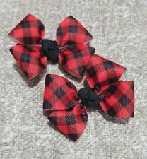 Set of 2 black & red plaid hair bows girl alligator clip pig tails