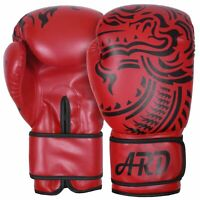 Red 4Fit® Art Leather Boxing Gloves Fight Punching Bag MMA Muay Thai Kickboxing