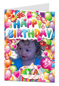 Personalised photo birthday card any Name, Age, Female, Girl, Daughter Card