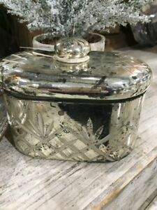 Mercury Glass Oval Etched  Jar