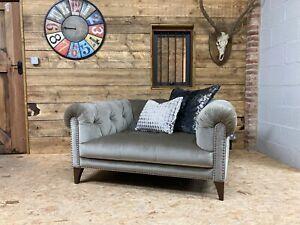 Alexander James Luisa Snuggler biege grey velvet sofa modern Chesterfield