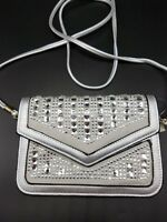 Evening Purse Cell Phone Clutch Silver Rhinestone Faux Leather Sparkle Bling NEW