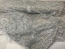 Silver Venom Diamond Web Embroider With Sequins On A White Mesh Lace Fabric-prom