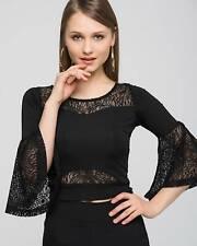 Women's Black Crochet Lace Flute Sleeve top Size 36