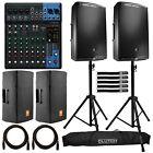 "JBL EON615 15"" Powered DJ PA Loud Speakers Pair with Yamaha MG10XU Mixer Package"
