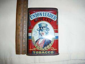 "UNION LEADER  Pocket Tobacco Tin, ""Uncle Sam"" Black Lettering 1917(?) Tax Stamp"