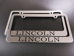 (2pcs) LINCOLN chrome METAL license plate frame - Front & Rear