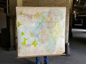 St. Louis County historical pull down map by Champion, vintage