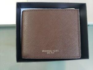 MK Michael Kors Men's Dark Brown Andy Leather Slim Billfold Wallet MSRP $98