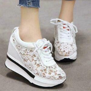 Women Floral Hidden Wedge Lace Cutout Sneakers Sport Sandals High Heel Boots MON