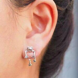 925 Silver Frog Animal Earrings Stud Dangle Wedding Women Ethnic Jewelry Gift