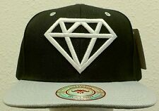NEW DELUXE EMBROIDERED DIAMOND ROCK TWO-TONE BLACK GREY CAP HAT SNAPBACK SWAG