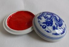Seal Stamp Ink Pad Paste Calligraphy Sumi-e Painting Ceramic Porcelain