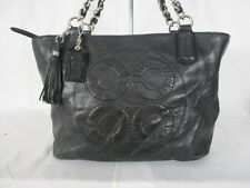 Coach Op Art Logo Black Leather Shoulder Bag Purse Tote 16485