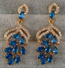 18K Yellow Gold Filled - 1.5'' Navy Blue Topaz 2-Layer Grape Chandelier Earrings
