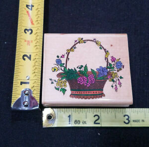 Country Flowers Wicker Basket Folk Rubber Stamp Wood Mounted Stamp Affair J1450