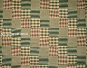 Homespun Patchwork Green ~ Wheat Fabric 1/2 Yard Cut Off The Bolt