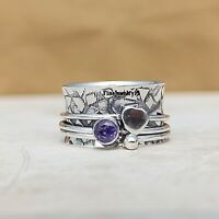 Amethyst Ring 925 Sterling Silver Spinner Ring Meditation Statement Jewelry A261