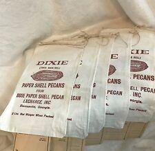 Vintage Set 6- DIXIE PAPER SHELL PECAN Cotten Linen Sacks, 2 Ibs Barnesville, GA