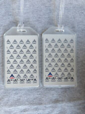 VINTAGE DELTA AIRLINES LUGGAGE TAGS - 2-TAG SET - INVERSE - BAG NAME TRIP ID