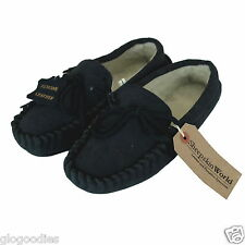 Unisex Hardsole Lambswool Moccasins - Navy - Mens & Ladies Real Wool Slippers