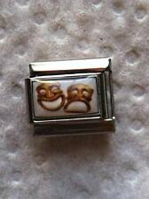 """""""LAUGH NOW, CRY LATER"""" 9MM WHITE ITALIAN CHARM-HAPPY, SAD, MOOD"""