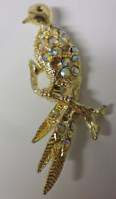 Vintage Retro 40-50's Very Old Aurora Borealis Rhinestone Bird Rare Pin Brooch