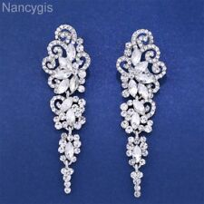Elegant Silver Crystal Butterfly Long Drop Party Gift Bridal Wedding Earrings