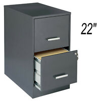 """Metal 22"""" 2-Drawer Office File Cabinet Dark Gray with Lock Letter Storage"""