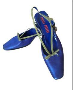 Miu Miu Shoes VTG RARE Heels Platform Closed Toe Metallic Blue  39,5 UK 6,5