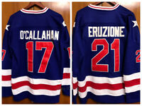 1980 USA Olympic Games #21 Mike Eruzione #17 O'Callahan Men's Hockey Jersey Sewn