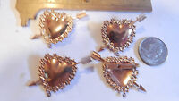6 VTG GOLD PLATE BRASS LARGE HEART ARROW PINS 1940s WITH DROP