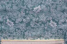 Stoff Baumwolle-Polyester beschichtet, Allmeria, Paisley, helles petrol/weiß