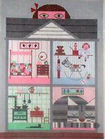 JJG Little Girl Doll House HP Handpainted Needlepoint Canvas