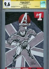 CAPTAIN BRITAIN Sketch cover art by RON WAGNER CGC SS 9.6 Marvel Avengers