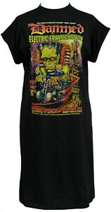 Womens Punk High Neck T-Shirt Dress the Damned 1977 Frankensteins Monster Gothic