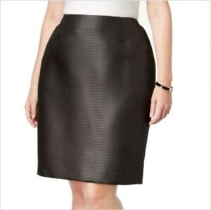 Kasper NEW Black Women's Size 20W Plus Quilted Crepe A-Line Skirt $66 #099
