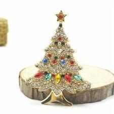 Vintage Christmas Tree Brooch Rhinestone Pin Charm Women Lovely Jewelry Gift