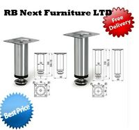4 x Adjustable Plinth Leg For Kitchen Cabinet Furniture Sofa Chrome 100mm 150mm