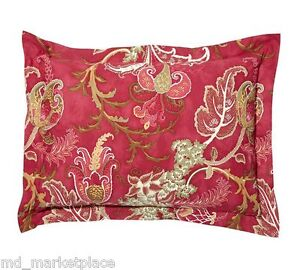 NEW Pottery Barn Mallory Palampore STD Pillow Sham Red Green Ivory Gold Organic