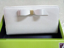 NWT, TED BAKER LONDON WHITE, AINE,  BOW ZIP AROUND MATINEE WALLET $149