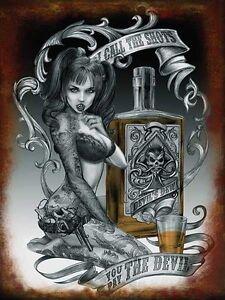 Devil Shots, Alchemy Gothic Tattoo Girl Steampunk Pinup Medium Metal Tin Sign