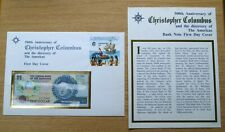 500th anniversary Christopher Columbus One dollar note $1 Bahamas stamp cover