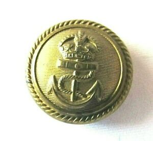 Antique Royal Navy Reserve Crown Over Anchor w/Rope Boarder Military Coat Button